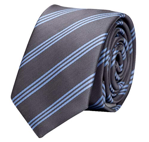 Fabio Farini Gestreifte Krawatte 6cm Breite in verschiedenen Farben für Büro Verein Hochzeit Weihnachten grau hellblau - Gestreifte Neue Seide Krawatte