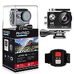AKASO Action Cam 4K WIFI Action Kamera 170°Ultra Weitwinkel Full HD Sport Cam mit 12MP Unterwasser Kamera 2 Zoll LCD Bildschirm 2.4G Fernbedienung mit 2 Batterien 19 Zubehör Kits (Schwarz)