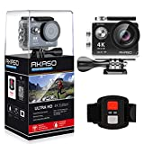 AKASO EK7000 WIFI 4K Ultra HD Wasserdichte Sports Action Kamera 12MP 2 Zoll 170°Weitwinkel-Objektiv DV Camcorder W/ 2.4G Remote Control/ 2 Rechargeable Batteries und 19 Kostenlosen Zubehor Kits Schwarz