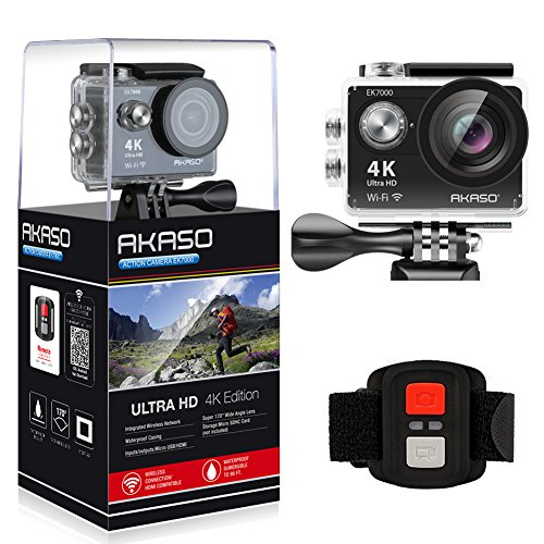 AKASO Action Cam Sport Action Camera 4K 170° Ultra Weitwinkel Full HD Kamera mit 12MP WIFI Funktion Wasserdichte Kamera 2 Zoll LCD Bildschirm 2.4G Fernbedienung zum auslösen 19 Zubehör Kits (Schwarz)