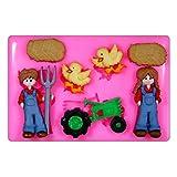 Unten auf dem Bauernhof Traktor Huhn Landwirt Silikon Form für Kuchen Dekorieren, Kuchen, kleiner Kuchen Toppers, Zuckerglasur Sugarcraft Werkzeug durch Fairie Blessings