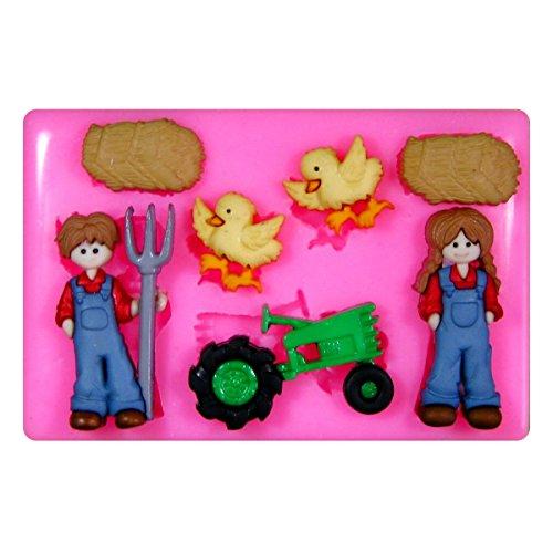 hof Traktor Huhn Landwirt Silikon Form für Kuchen Dekorieren, Kuchen, kleiner Kuchen Toppers, Zuckerglasur Sugarcraft Werkzeug durch Fairie Blessings ()