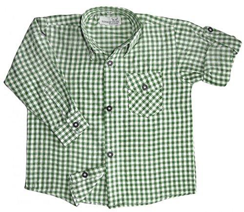 Kinder Trachtenhemd für Trachtenlederhosen Oktoberfest Trachtenmode grün/karo, Größe:140/146