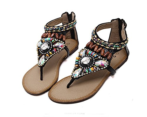 Damen Böhmen Schuhe Strass Wulstige Flache Thong Sandalen Strandschuhe Knöchelriemchen Sandalen Schwarz