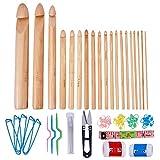 BENECREAT 19PCS Bamboo Crochet Hooks Set con 41pcs Knitting Accessories, 60PCS in totale - Ideale per uncinetto, pizzo, centrini e fiori