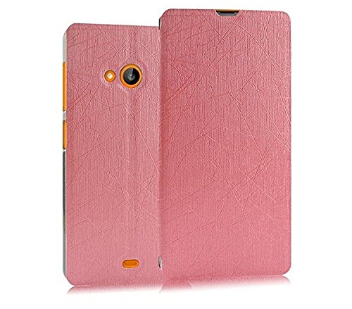 Heartly Premium Luxury PU Leather Flip Stand Back Case Cover For Microsoft Nokia Lumia 535 Dual Sim - Cute Pink
