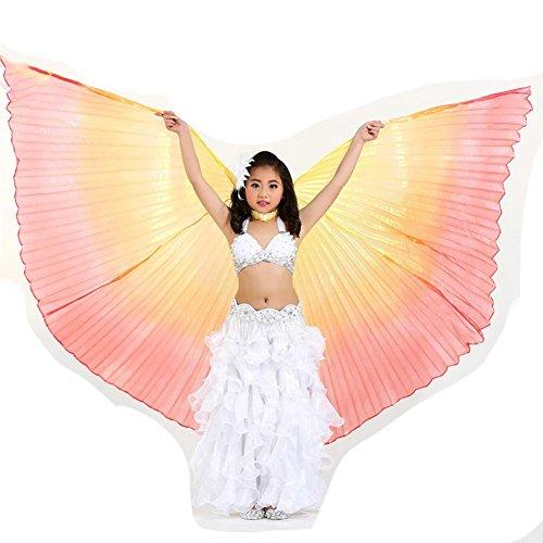 Wgwioo Kinder Bauchtanz Farbe Flügel 360 Grad Keine Öffnung Gabel Portable Flexible No Sticks Voll Exotische Kostüm Big Requisiten, Children