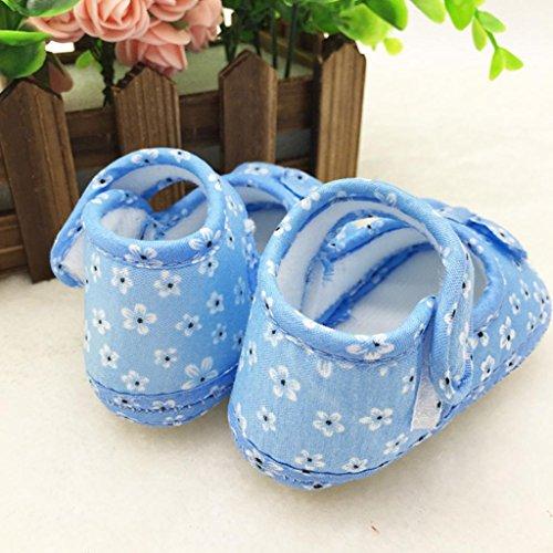 Saingace Bébé Filles Garçons Bowknot Impression Tissu Chaussures (11(10.5cm), Rose) Bleu Ciel