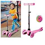 Acecoree Kinderscooter mit 3 Blinkenden LED Räder, Kickboard Scooter für Kinder ab 3 Jahren, Abnehmbare Lenker Kinderroller Dreiräder Höhenverstellbarer(57-62-67-69cm)