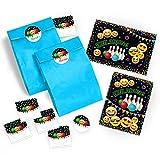 JuNa-Experten 12 Einladungskarten Geburtstag Kinder Jungen Jungs Mädchen Bowling / Einladung zur Bowling-Party / Kartenset incl. 12 Umschläge, 12 Tüten / blau, 12 Aufkleber