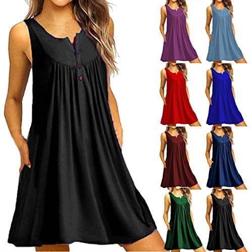 VJGOAL Kleider Damen Sommer Elegant Große Größen V Ausschnitt Einfarbig Ärmellos Knopf Dresses for Women