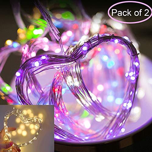 2er Pack LED Lichterketten Batteriebetrieben Multi Color Lichterketten Wasserdicht 8 Modi mit Fernbedienung und Timer Firefly Lights für Weihnachten Schlafzimmer Party Hochzeitsdeko -