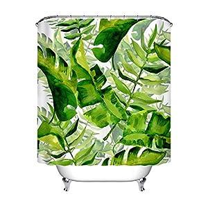 LB Tropischer Betriebsduschvorhang, Aquarell Hawaii Grün Dschungel Palme Blatt Badevorhänge Wasserbeständiges Anti-Form Polyester-Gewebe-Wohnaccessoires eingestellt mit 12 Haken 150W * 180H cm