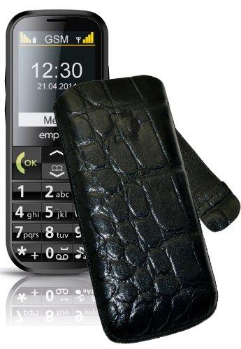 Original Suncase Tasche für / Emporia C160 emporiaECO / Leder Etui Handytasche Ledertasche Schutzhülle Case Hülle Lasche mit Rückzugfunktion* In Croco-Schwarz