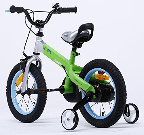 R BABY BUTTONS FREESTYLE BMX KIDS BIKES IN 4 COLOURS – IN SIZE 12,14,16 INCH WITH HEAVY DUTY REMOVABLE STABILISERS. (MATT GREEN-BLUE RIM, BUTTON-12)