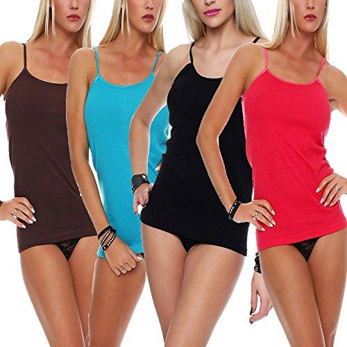 4x Damen-Unterhemd ✓ 100% Baumwolle ✓ Spaghettiträger / Tank-Top ✓ Große Farbauswahl | Sehr strapazierfähige Tops für Frauen | Weiche Unterhemden ohne Seitennähte von SGS (Bh Ausführung Baumwolle)