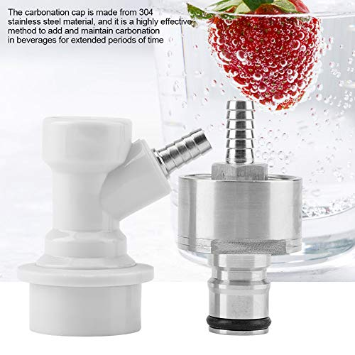 "51Cp3LZBxvL. SS500  - TOPINCN Carbonation Cap 304 Stainless Steel Carbonator With Liquid Ball Lock Disconnect 1/4"" Barb Hot Homebrew Soda Water Carbonate Beer Soft Drinks"
