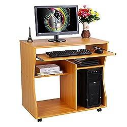 Computertisch, tragbare Arbeitsstation aus Holz Schreibtisch Tisch Computerwagen Schreibtisch mit verschiebbarer Tastatur Ablagefläche mit 4 Rollen für PC-Laptop-Arbeitsstation im Home-Office-Bereich