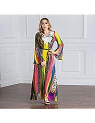 762f4eac8 QAQBDBCKL Moda O-Cuello De Verano Vestido Maxi Flores Impresas Más El  Tamaño De Las