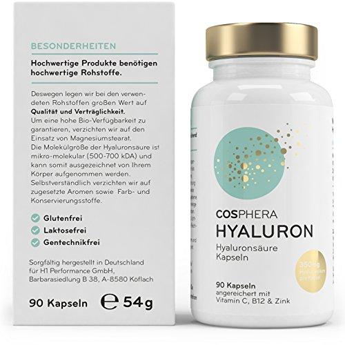 Hyaluronsäure Kapseln – Hochdosiert mit 350 mg pro Kapsel. 90 vegane Kapseln im 3 Monatsvorrat – 500-700 kDa – Angereichert mit Vitamin C, B12 und Zink – Für Haut, Anti-Aging und Gelenke – Cosphera - 2