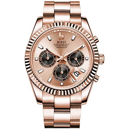 BUREI Herren Chronograph Uhr Gold Analoges Zifferblatt mit Datumsanzeige Saphirglas-Objektiv Edelstahlgehäuse und -Band