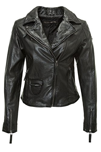 Freaky Nation Damen Lederjacke Biker-Look Vintage (L, Black)