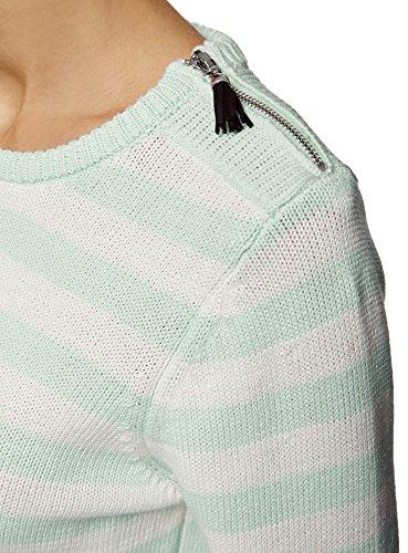 oodji Ultra Damen Pullover Gestreift mit Reißverschluss auf der Schulter Grün (6512S)