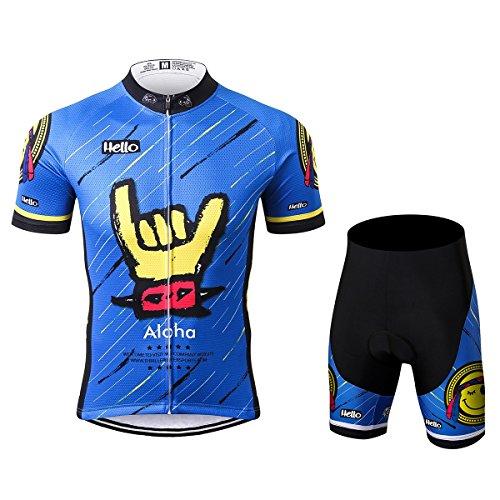 Thriller Rider Sports® Herren Aloha Blue Sport & Freizeit MTB Fahrradbekleidung Radtrikot und Kurze Hose Anzüge Large