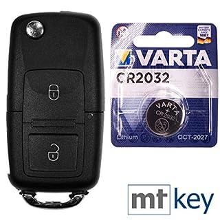 VW Autoschlüssel Funk Fernbedienung Austausch Gehäuse mit 2 Tasten + HAA / HU66 Rohling + Batterie für VW Golf Bora Sharan T5 Skoda Fabia Octavia