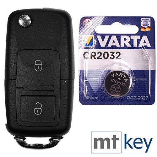Autoschlüssel Funk Fernbedienung Austausch Gehäuse mit 2 Tasten + HAA / HU66 Rohling + Batterie kompatibel mit VW Golf Bora Sharan T5 Skoda Fabia Octavia