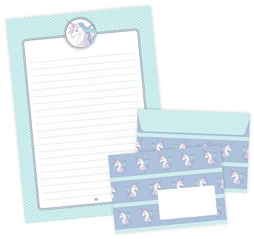 Briefpapier-Set EINHORN 22 Blatt Briefpapier A4 + 11 Umschläge C6 mit EINHORN in MINT LILA ROSA • Für Mädchen zum Schulanfang