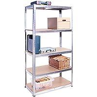 180cm x 90cm x 45cm, Galvanised 5 Tier (175KG Per Shelf), 875KG Capacity Garage Shed Storage Shelving Unit, 5 Year Warranty - ukpricecomparsion.eu