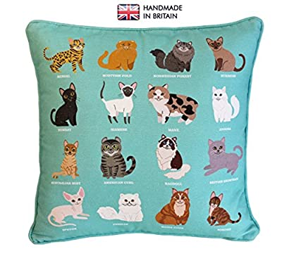 ROYAL CAT Breeds Original Design UK Handmade, 100% Cotton Cushion Complete with Inner Pad Included, Perfect Mother's Day Gift, Home Décor Cushion, Unique Cat Print Cushion, Stylish Home Cushion, Children's Cushion, Sofa Throw Pillow, Bedroom Fun Cushion,