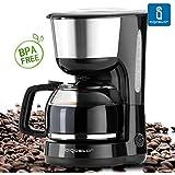 Aigostar Chocolate 30HIK – Máquina de café, cafetera de filtro color negro de 1000 Watios de potencia, con filtro reutilizable y función de mantener caliente. Capacidad de 1,25 litros y libre de BPA. Diseño exclusivo.