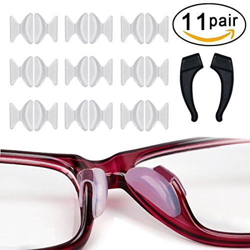 Rutschfeste Nasenpads, 10 Paar 2,5 mm Non-slip Silicone Nose Pads Adhesive mit Ohrhaken Grip Holder, für Brillen Sonnenbrille Lesebrille Pads, Transparent
