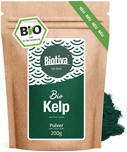 Kelp Bio Pulver hochdosiert - 200g - Natürliches Jod - Kelpalgen - Hergestellt und kontrolliert in Deutschland (DE-ÖKO-005) - 100% Vegan -
