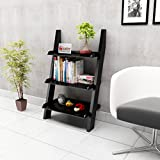 RjKart Bookcase Ladder Shelf & Room Organizer Storage Divider Wood Furniture- Black