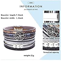 Gelamo Tree of Life Leather Handmade Bracelet Bohemian Multilayer Wound Magnetic Buckle Pearl Bracelet for Women