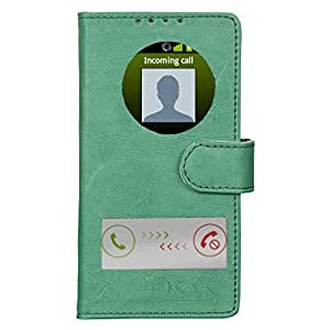 Dsas Artificial Leather Flip cover with screen Display Cut Outs designed for Micromax Canvas 2.2 A114