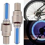 FASTPED®2Pcs Bike Bicycle Car Wheel Tyre Tire Valve Cap Led Neon Flash Lamp Light Blue