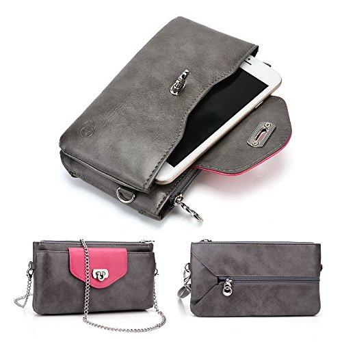 Kroo Lien Series Étui portefeuille pour femme Dragonne Sac à bandoulière Compatible avec de nombreux 4à 12,7cm universel pour Vivo xplay3s/Vodafone/ZTE/Pantech Téléphone portable noir - noir Multicolore - Grey Hot Pink