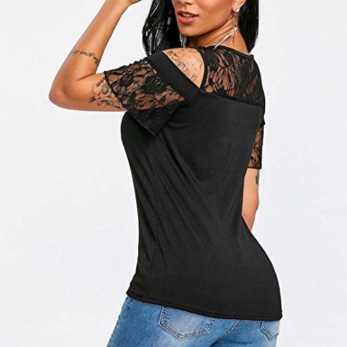 Chemise Femme,Manadlian Tuniques Femme T-Shirt Noir À Manches Courtes O-Cou Fleur Blouse Dentelle Hauts Noir