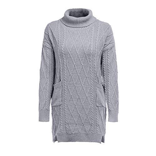 Damen Kleid, Sunday Frauen Winter Strickkleid Rollkragenpullover Mode Bodycon Minikleid (Grau-2, L)