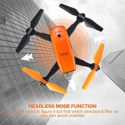 FPV GPS RC WiFi Drone, Foldable Quadcopter One Key Return with 720P Wide Angle Wifi Camera Altitude Hold Headless?for video shooting(Orange)