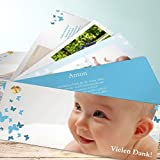 Baby Danksagung, Schmetterlinge 200 Karten, Kartenfächer 210x80 inkl. weiße Umschläge, Blau