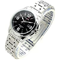 Casio Ladies Black Analog Dial Stainless Steel Band Watch [LTP-1314D-1AV] for Women water resistance