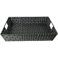 XXL Aufbewahrungskorb Kiste Schrankkorb Dekokorb Tablett Regalkorb  Badezimmerkorb 60x40x12,5cm Anthrazit/Weiß