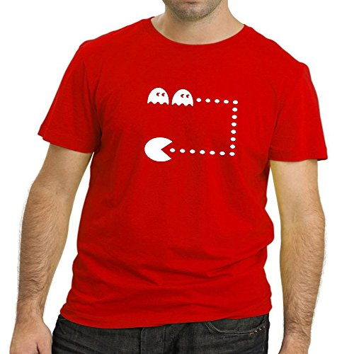 Heyuze Designer Printed Premium Quality 100% Cotton Half Sleeve Male / Men Round Neck Red T Shirt with Cartoon Packman Design