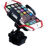 Bicicleta moto teléfono soporte para smartphone, soporte para bicicleta soporte Universal soporte abrazadera para iPhone y Android Smartphones, GPS, Otros dispositivos, con un solo botón en libertad, 360grados de rotación. Ajustable agarre y correa de caucho, perfecta protección al ciclismo