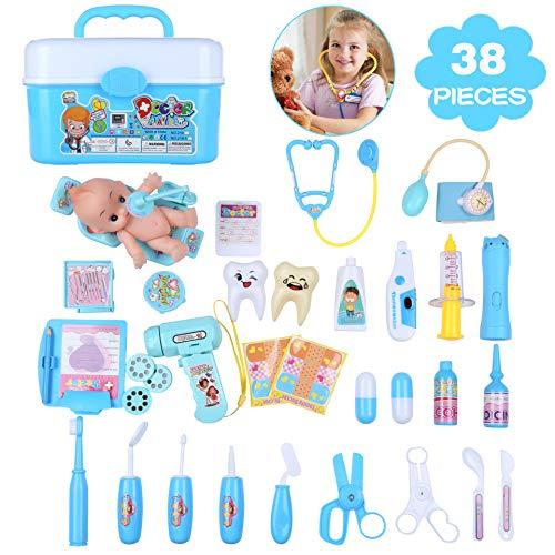 JunYito Giocattolo Dottore Medico 38 Pezzi Valigetta Medico Dottore Dentista Valigetta Kit Dottore Medico Set per Bambini (38 Pezzi Giocattolo Medico)